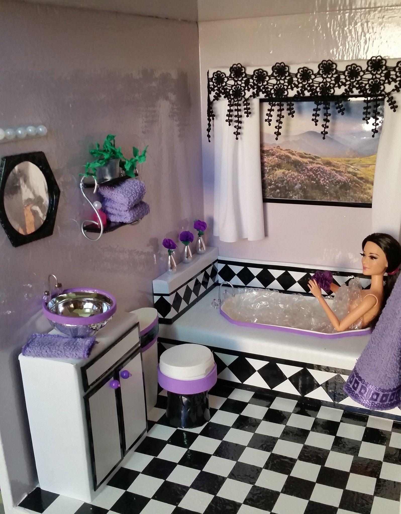 1//6 scale doll size minimalist bathroom set for barbie and ken dolls