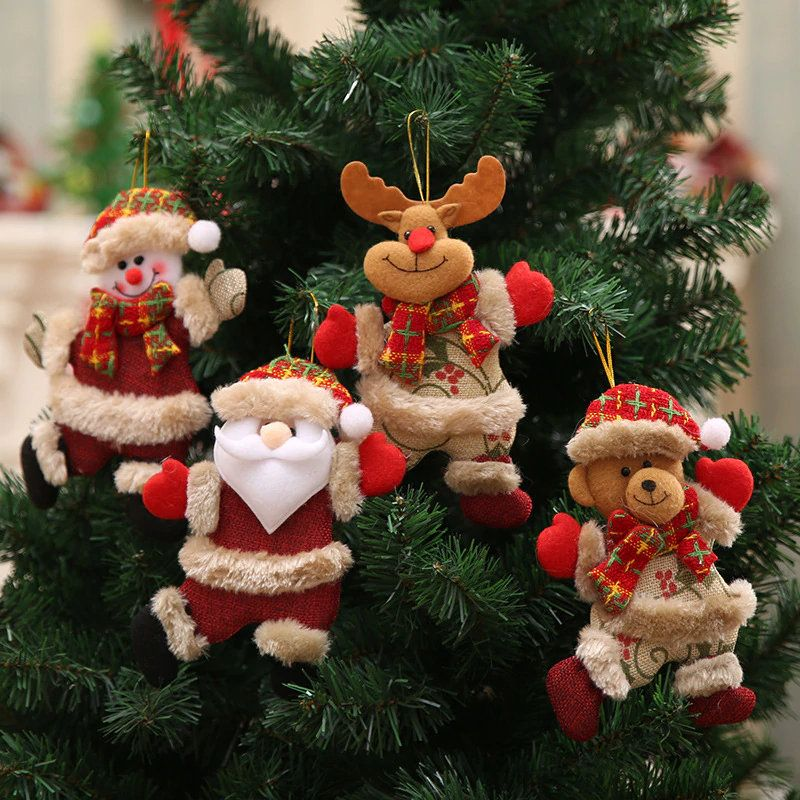 Christmas Ornaments Wooden Box Doll Pendant Xmas Tree Hanging Party Decor Gift