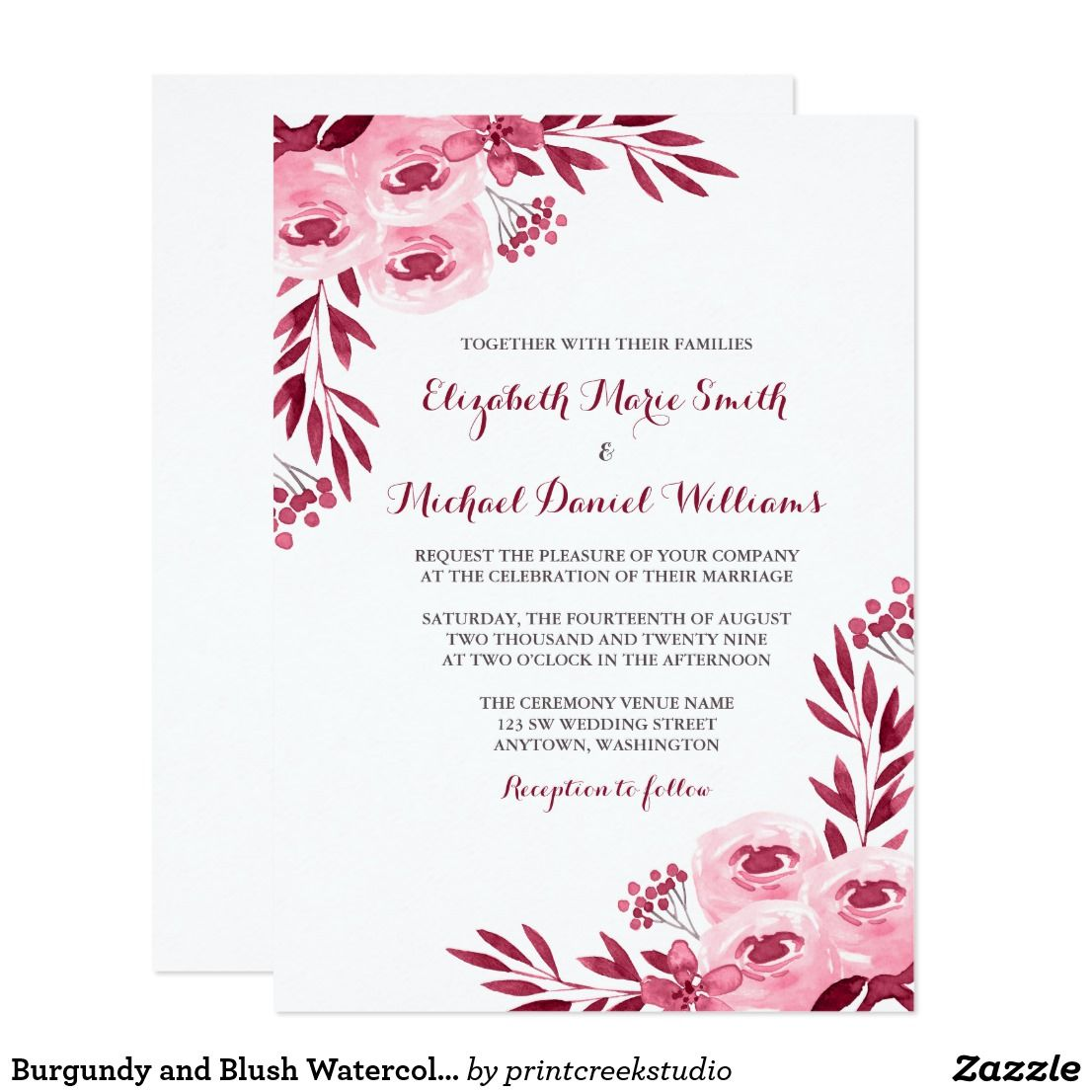 Burgundy And Blush Watercolor Floral Wedding Card Wedding