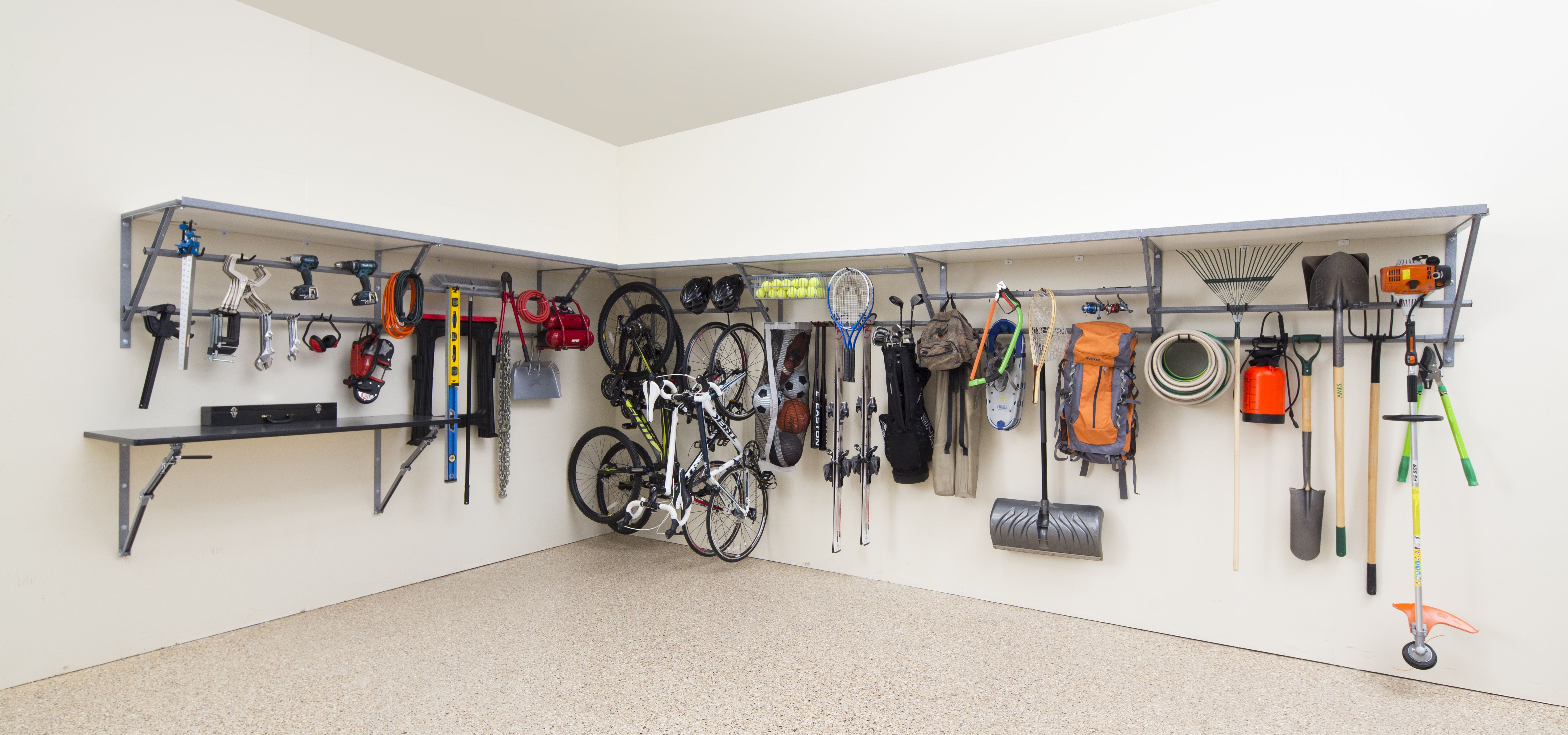 Just One 4 Ft Shelving Unit From Monkey Bar Storage Can Hold Up To 1 000 Lbs Love The Overhead Garage Storage Garage Storage Solutions Garage Storage Systems