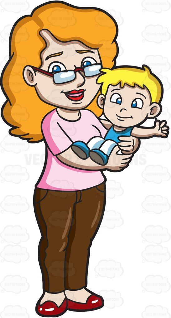 A Mother Carrying Her Young Toddler Son | Vector ...
