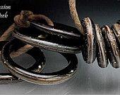 Handmade Glass Bead Ring Big Hole Lampwork - Shiny Jet Black Slider Rings - 10 mixed