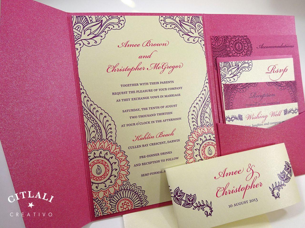 Hot Pink Violet Purple Henna Paisley Floral Wedding Invitation: Pink Paisley Wedding Invitations At Reisefeber.org