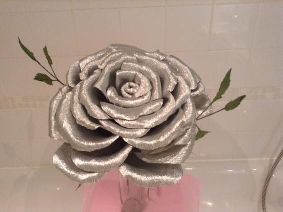 Giant paper rose in silver #crepepaperroses