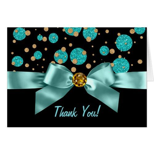 Teal Blue Black Gold Thank You In 2018 Blue Birthday Party
