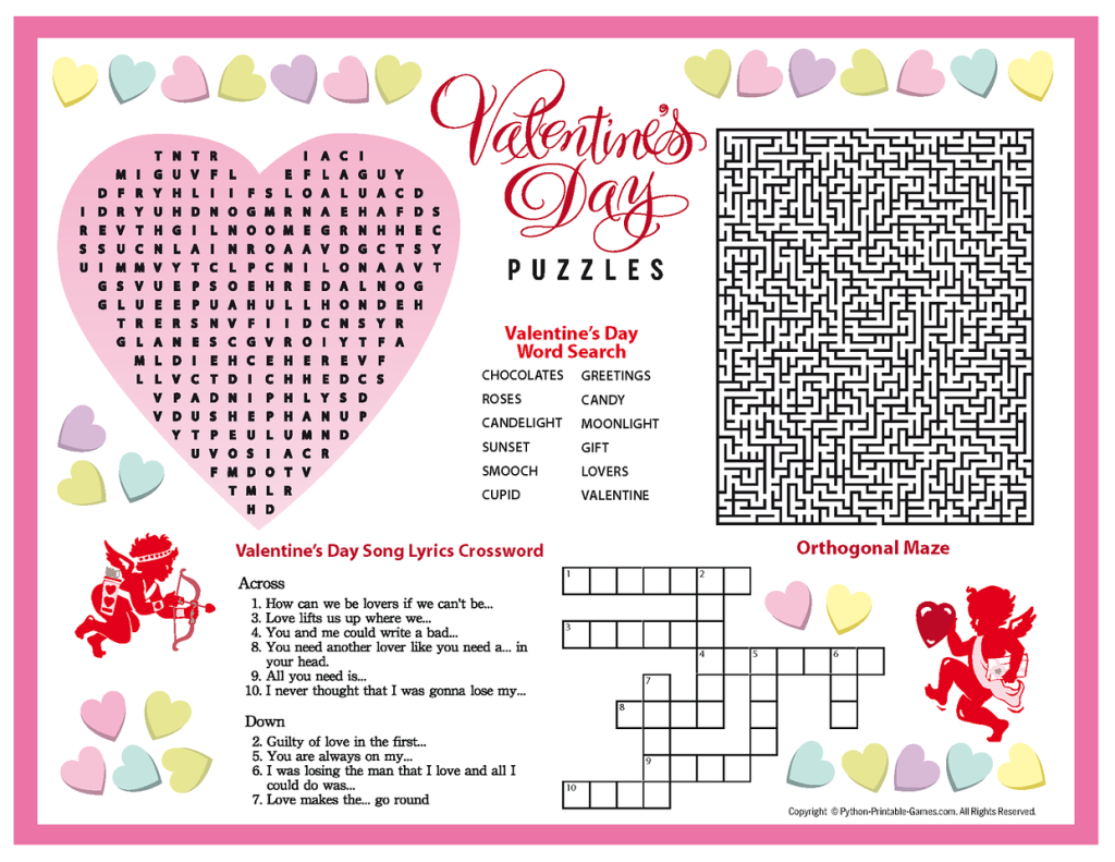 Valentines Day Puzzles Printable Placemat  Valentines Day