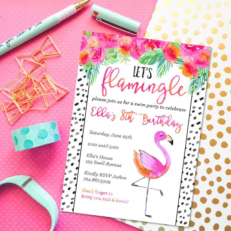 Flamingo Party Invitation Flamingo | Let\'s Flamingle Watercolor ...