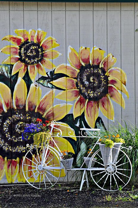 Sunflowers And Bicycle Poster By Kenny Francis Garden Mural Fence Art Garden Art