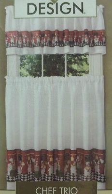 New In Package Fat Chef Curtains Valance Tier Italian Bistro Kitchen