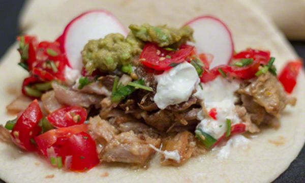 Mexican Carnitas Tacos Recipe with Fresh Tomato Salsa in a Lodge Enameled Cast Iron Dutch Oven
