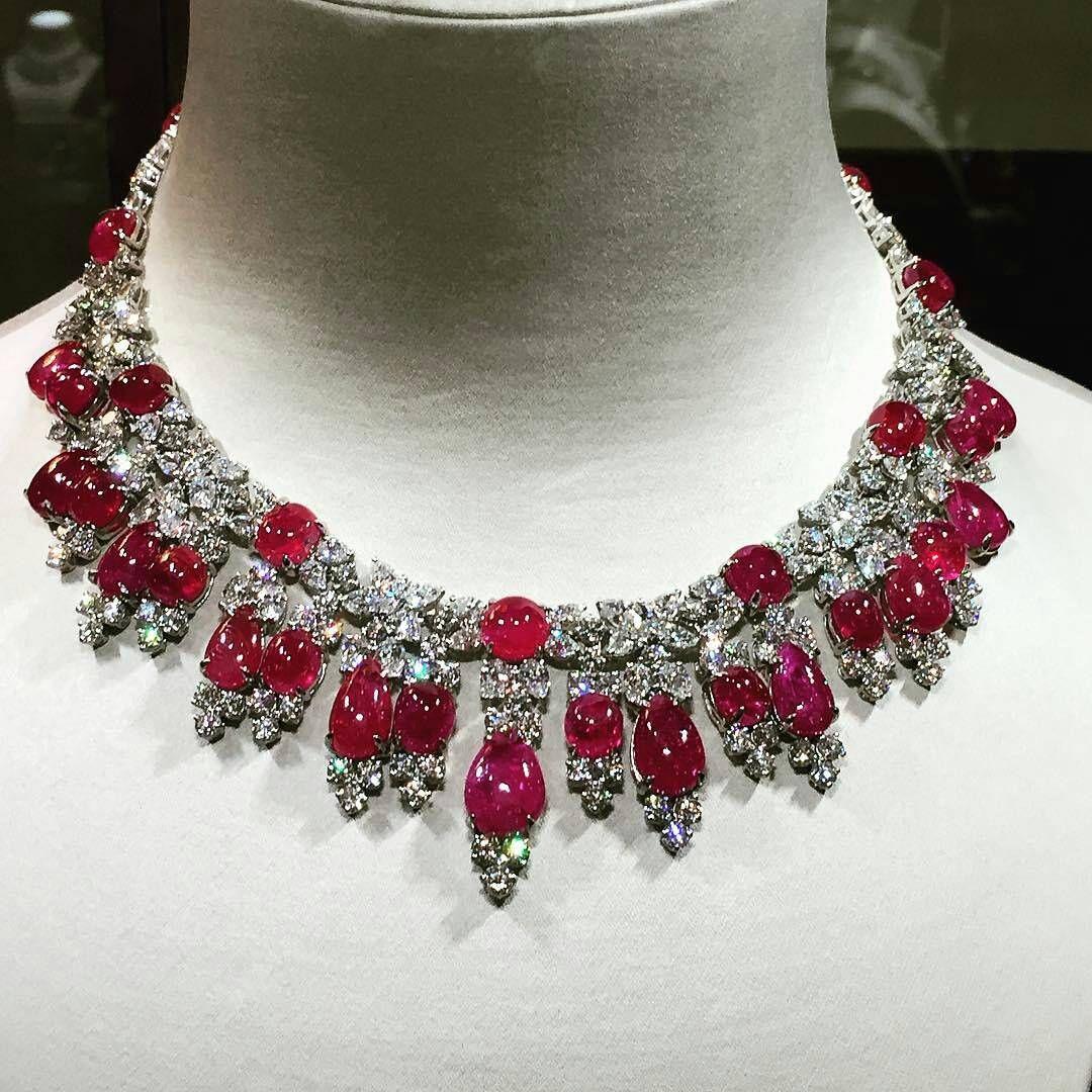 ae66b5b7a0e0f Fabulous ruby and diamond necklace by Harry Winston @jewelryblogram ...