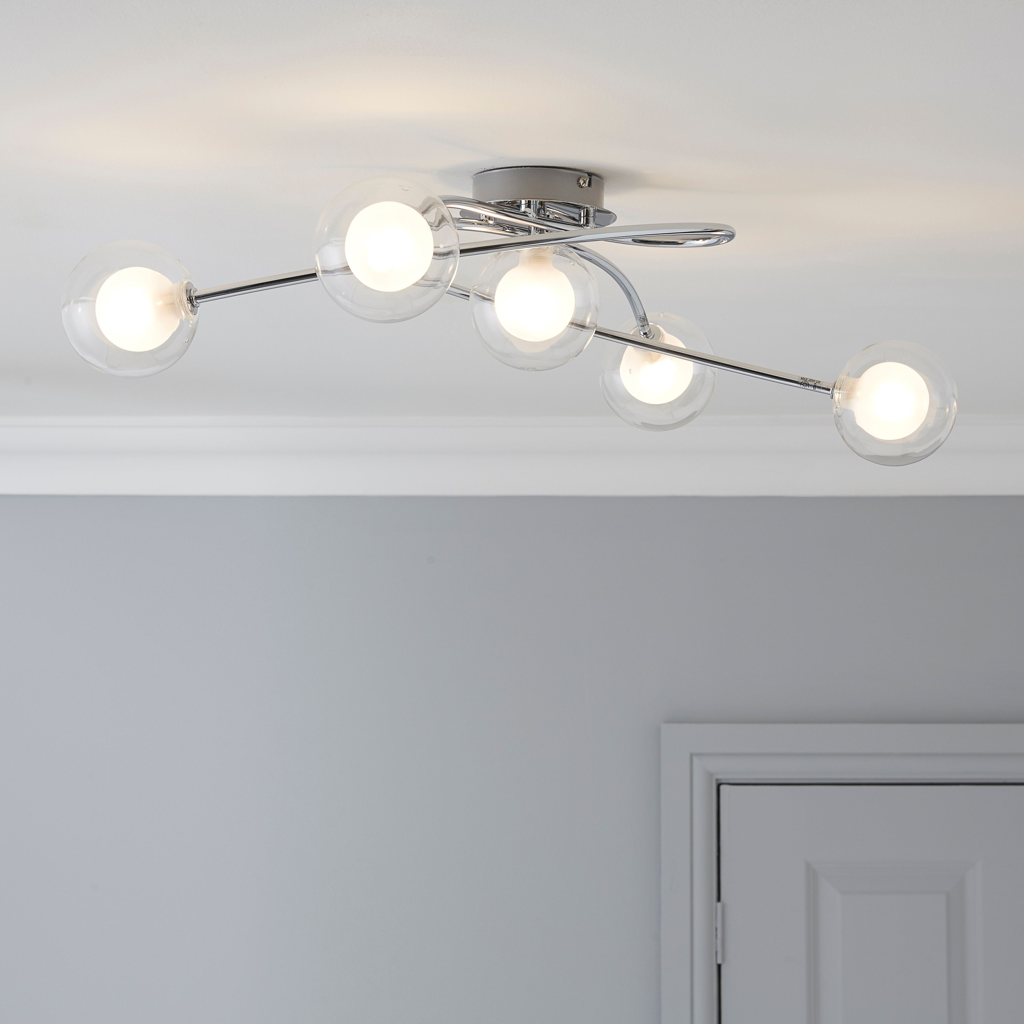 Bistra double glass chrome effect 5 lamp ceiling light departments bistra double glass chrome effect 5 lamp ceiling light bq for all your home and garden supplies and advice on all the latest diy trends aloadofball Image collections