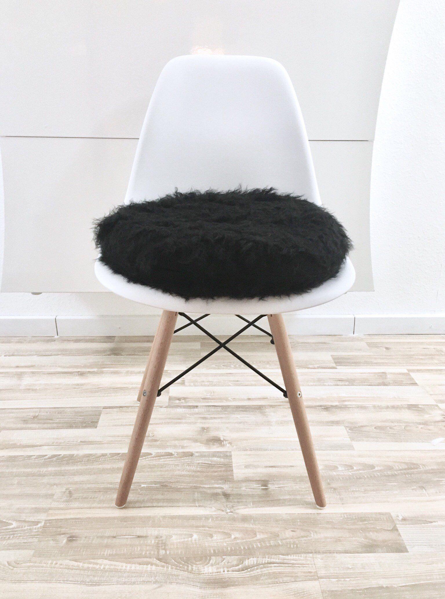 Stuhlkissen Eames Rund Aus Kunstfell Fur Eames Chair Schwarz