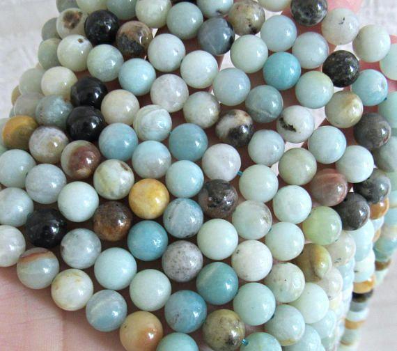 "15/"" Strand 8mm Round Multi-Color Genuine Amazonite Gemstone Beads"