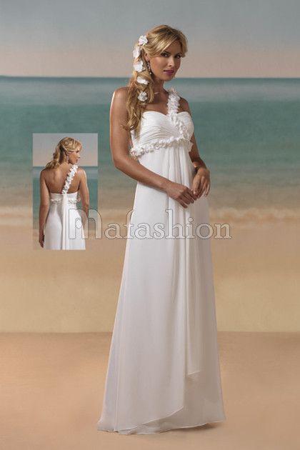 de mari e nature a plage avec fleurs d 39 paule asym trique beach wedding dress. Black Bedroom Furniture Sets. Home Design Ideas