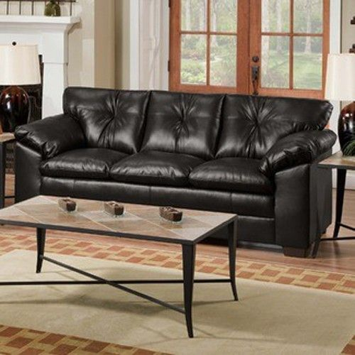 Awe Inspiring Simmons Upholstery Sebring Bonded Leather Sofa In Black Frankydiablos Diy Chair Ideas Frankydiabloscom