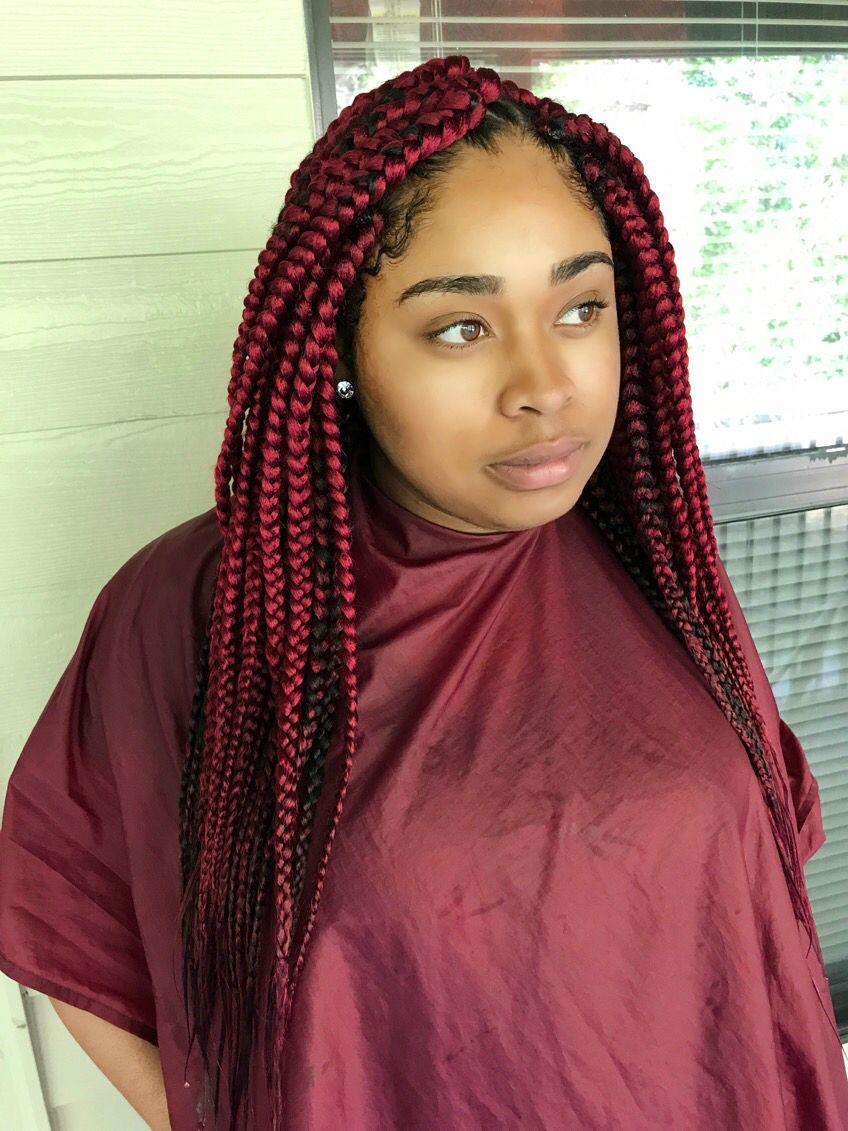 Red Braids Box Braids Triangle Braids Hair In 2019 Box