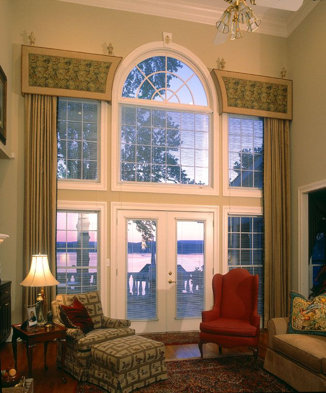 Window treatments for great room windows two story High ceiling window treatments