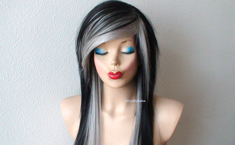 scene hairstyle wig. silver /black / wig. black gray hair long