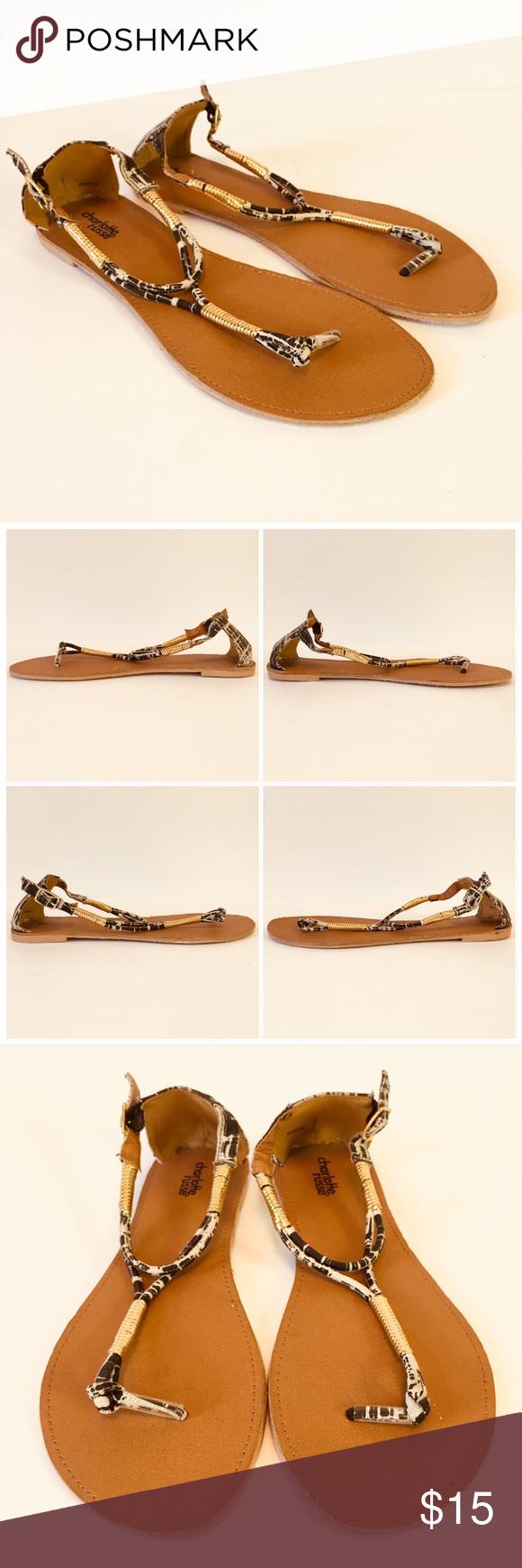 70bdfa53c17e Charlotte Russe Thong Strap Sandal Charlotte Russe Thong Strap Sandal  Womens Size 9 Gold Black White Unworn NWOT Smudges on bottom of heels.