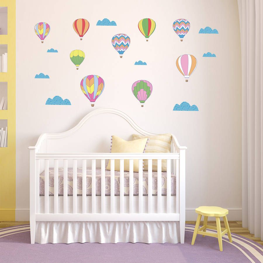 Charmant Vintage Hot Air Balloon Wall Stickers