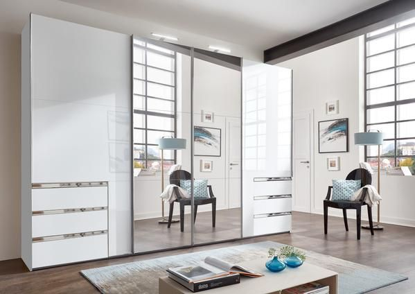 Instrument Kenai White Gloss Sliding Synchro Wardrobe With Mirror W350 X D65 X H216 4 Sli Bedroom Cupboard Designs Cupboard Design Bedroom Closet Design