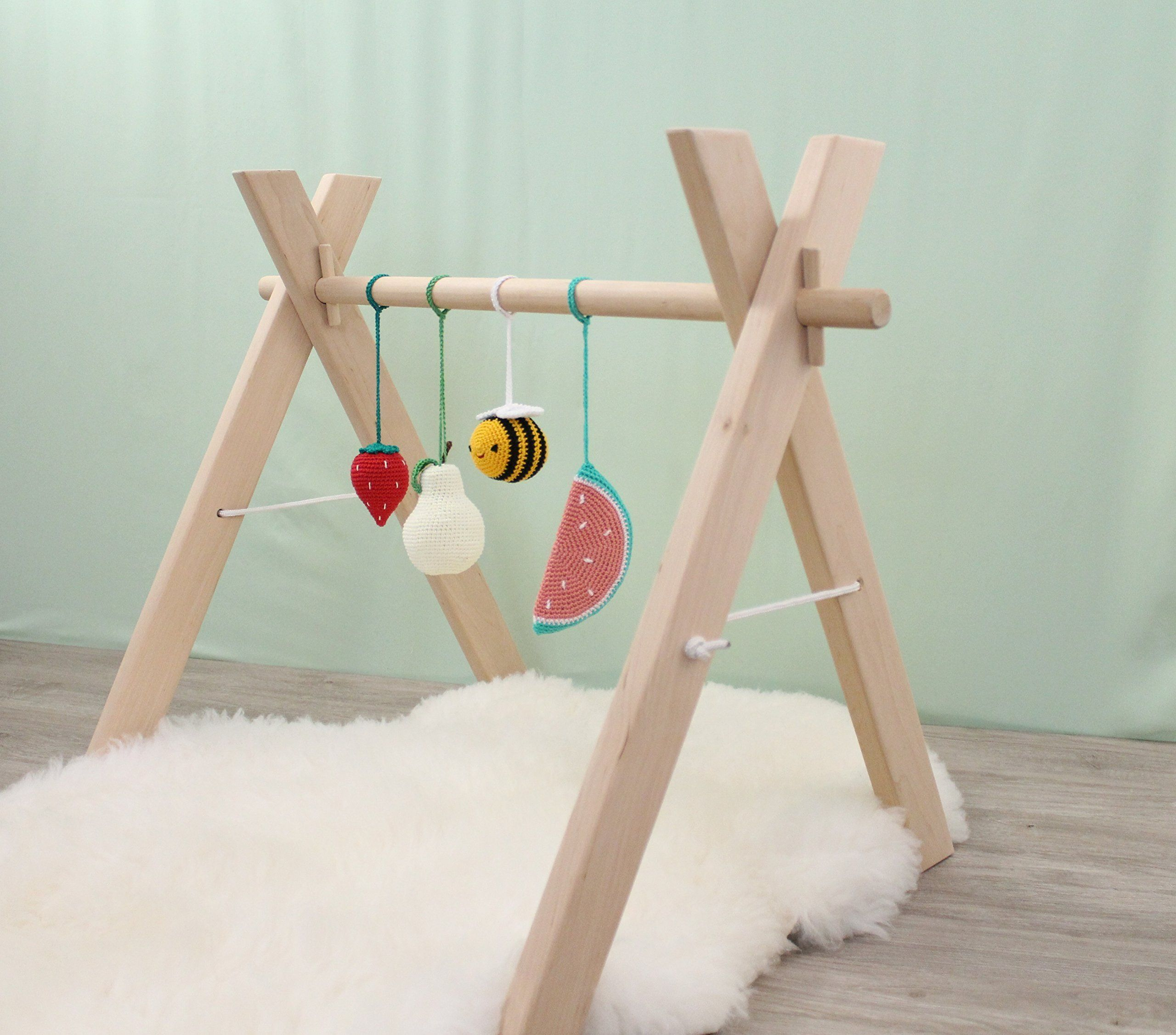 Wooden baby gym with 4 toys play gym activity center nursery