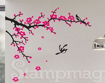 Cherry Blossoms Branch Wall Decal Brcb010r In 2021 Cherry Blossom Branch Tree Branch Wall Wall Decals