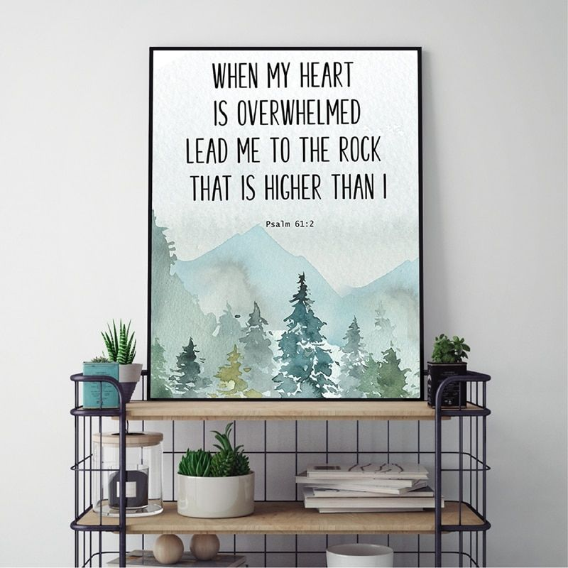 Bible Verse Psalm 61 2 Christian Wall Art Canvas Painting When My Heart Is Overwhelmed Quotes Poster Prints Picture Home Decor Bible Wall Art Christian Wall Art Wall Art Canvas Painting