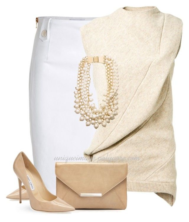 """""""Neutrals"""" by uniqueimage ❤ liked on Polyvore featuring Jimmy Choo, Moschino, Victoria Beckham, Style & Co. and Kate Spade"""