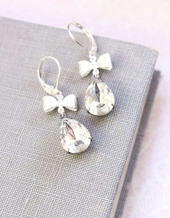 Crystal Earrings Vintage Clear Glass Silver Bow by apocketofposies