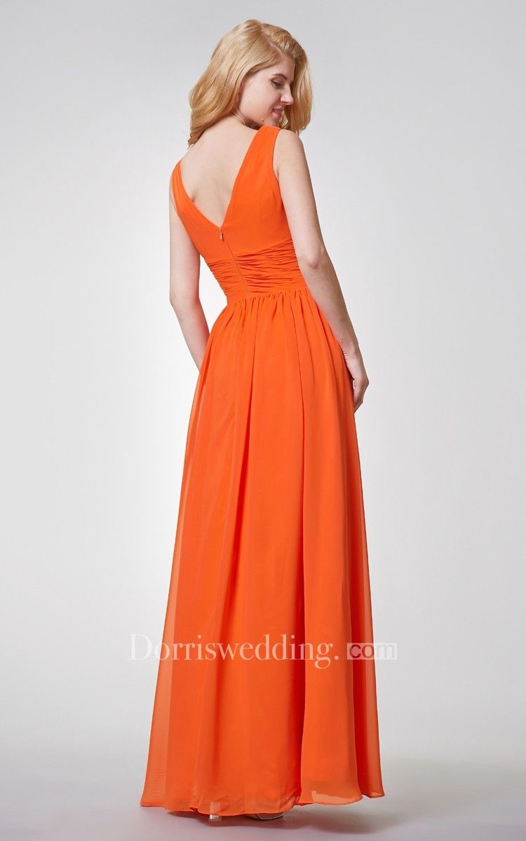 Vneck pleated aline long chiffon dress with ruched waist weddings