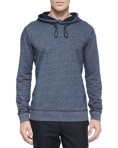 VINCE Long Sleeve Pullover Hoodie, Navy. #vince #cloth