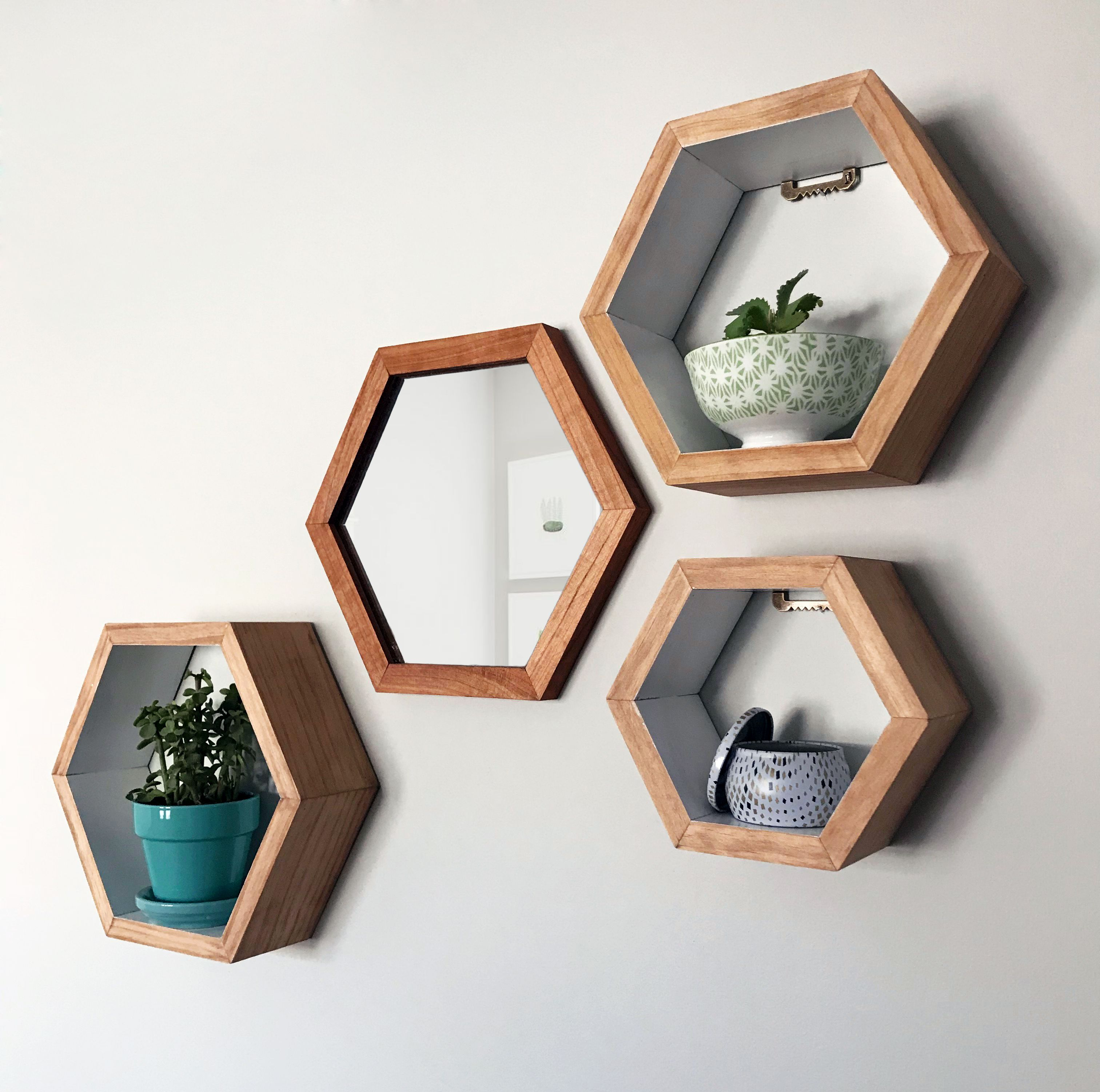 Cherry Wood Hexagon Mirror Paired With Hexagon Shelves With A White Interior Available On Etsy By Taute Hexagon Shelves Geometric Shelves Wood Hexagon