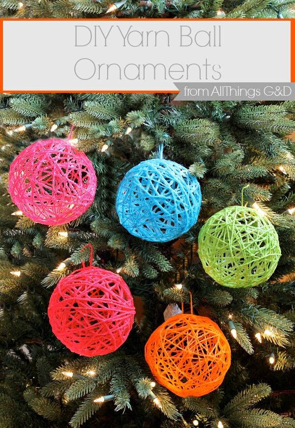 How to make yarn ball ornaments Christmas crafts, Diy