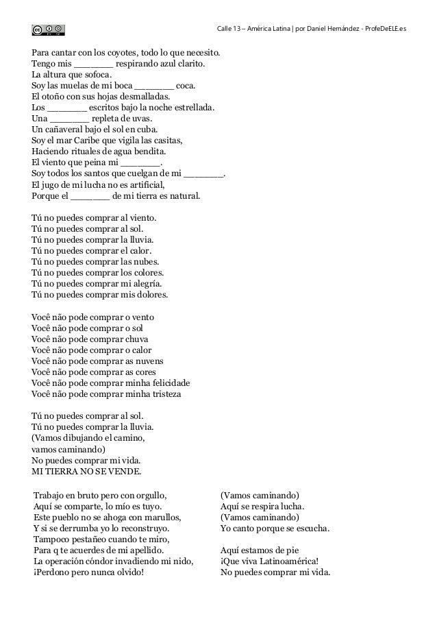 Calle 13 Latinoamérica Mi Interpretación De La Letra Clase De Español Aprender Español Letras