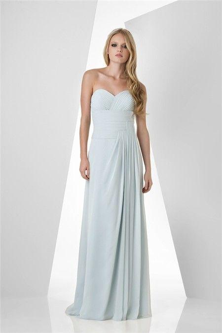 Elegant Strapless Sweetheart Long Light Blue Chiffon D Wedding Guest Bridesmaid Dress