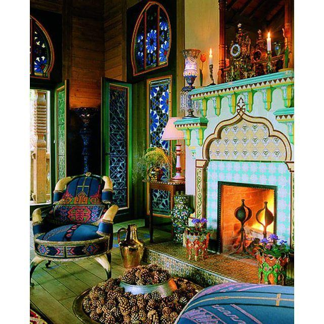 A Beautiful Moroccan Living Room With Fireplace And Gorgeous Tile Gl Work True Colors Moroccandesign