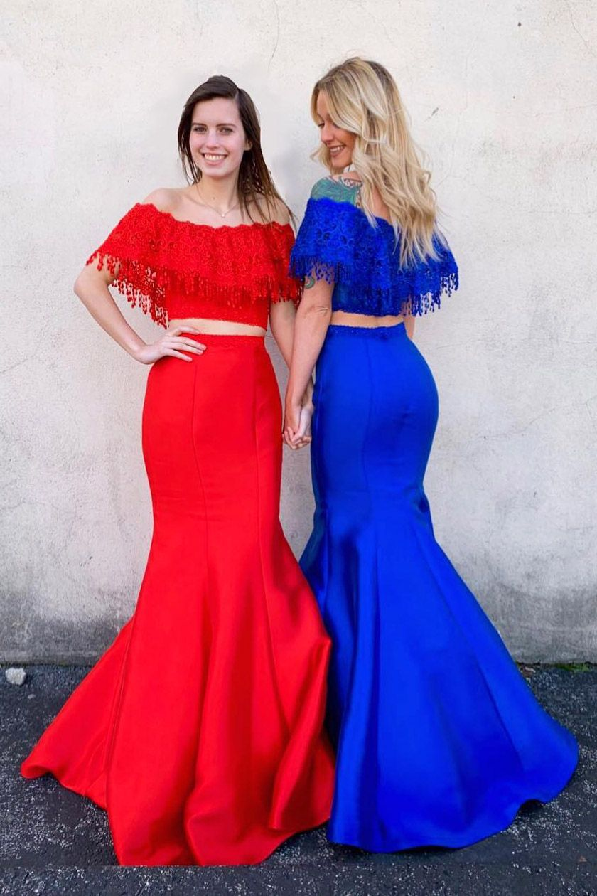 e0f2cd3d615c two piece prom dresses with off the shoulder, red prom dresses, royal blue  prom dresses
