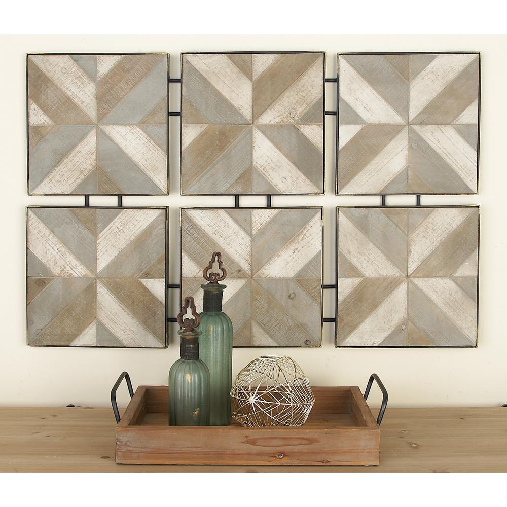 Rustic Brown Wooden And Metal Herringbone Panel Wall Decor Multi Rustic Wall Art Wooden Wall Panels Wooden Wall Decor