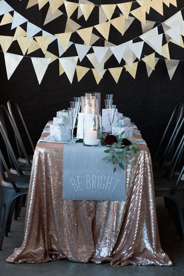 NYE tablescape // photo by Modern Kids Photography // http://ruffledblog.com/silver-and-gold-nye-party