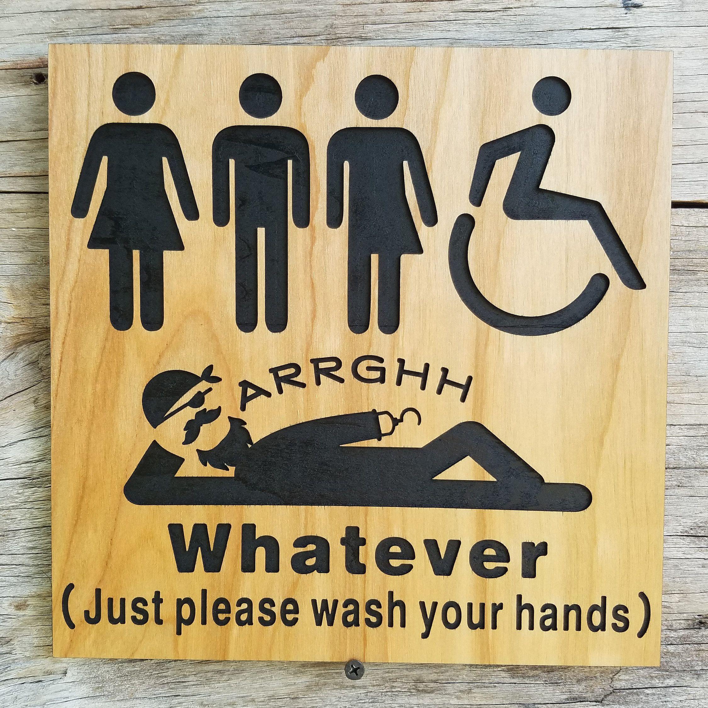 All Gender Restroom Sign Whatever Just Wash Your Hands Pirate Etsy Restroom Sign All Gender Restroom Bathroom Signs