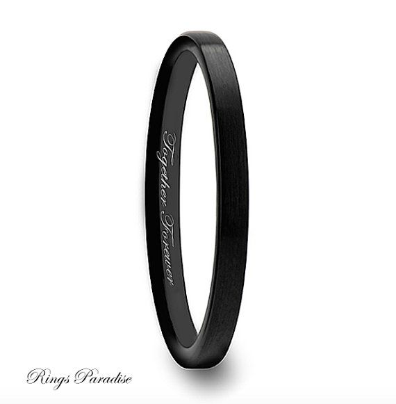 Black Flat Shaped Tungsten Wedding Band For Women By Ringsparadise