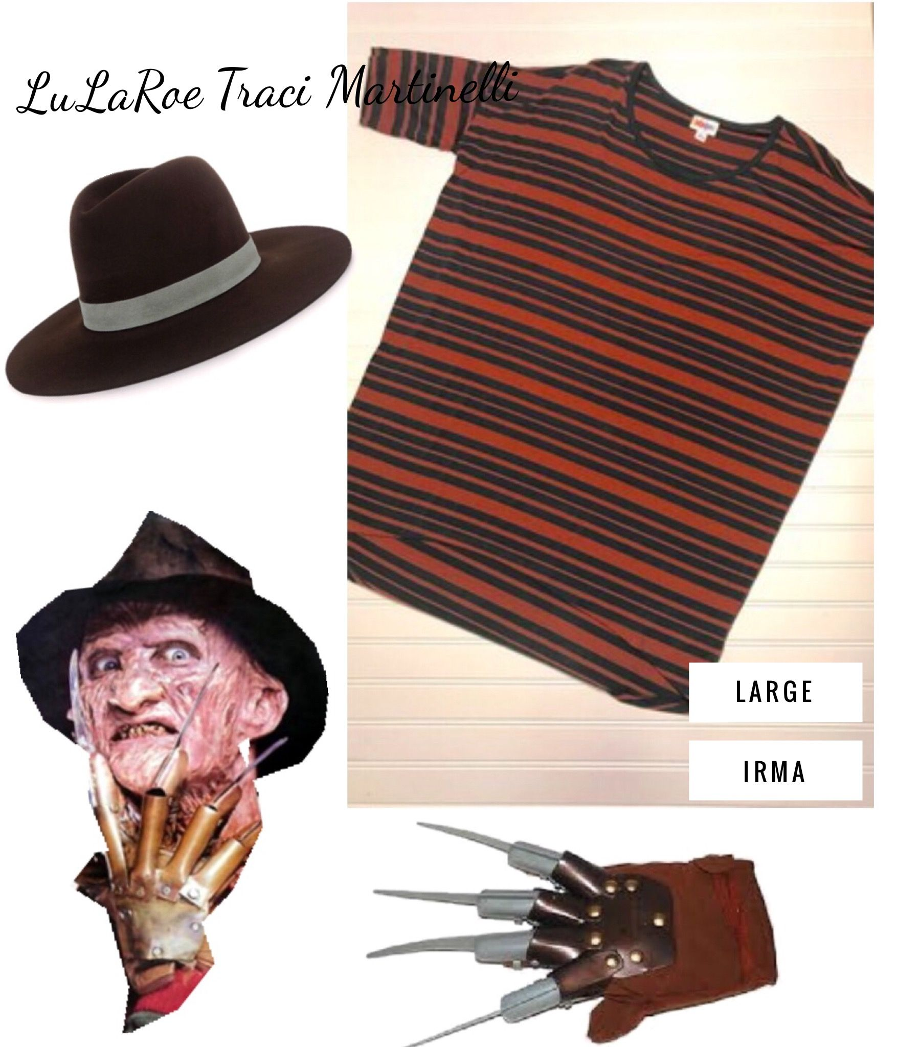 freddy krueger halloween costume from lularoe. stripped green and