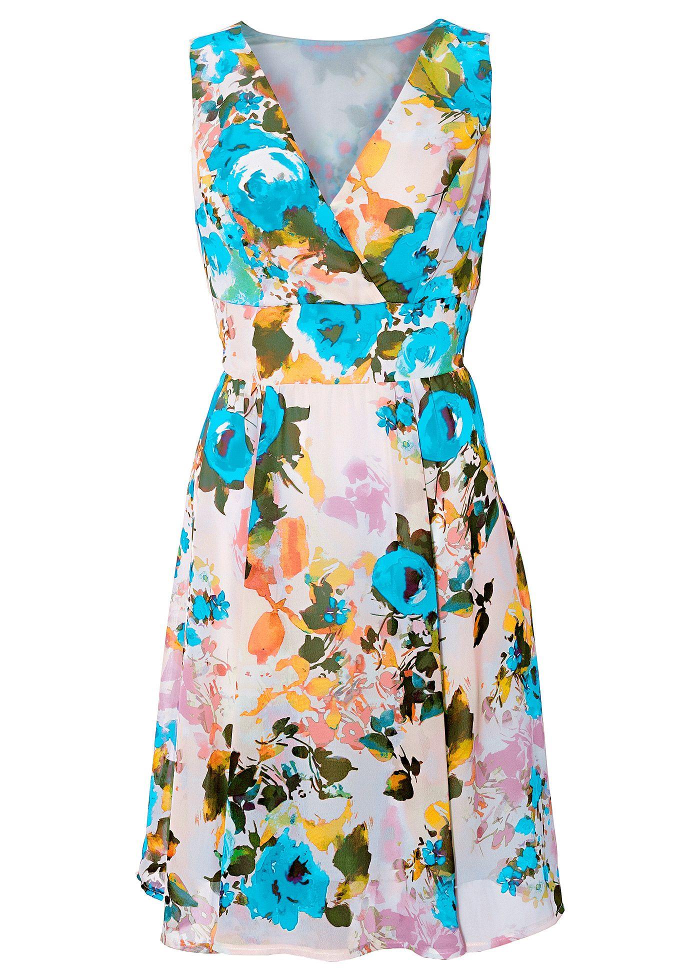 3fe626722 Vestido estampado de chiffon azul estampado encomendar agora na loja  on-line bonprix.de R  99