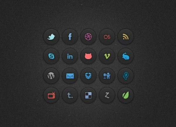 20 Dark Sexy Social Media Icons Set PSD - http://www.dawnbrushes