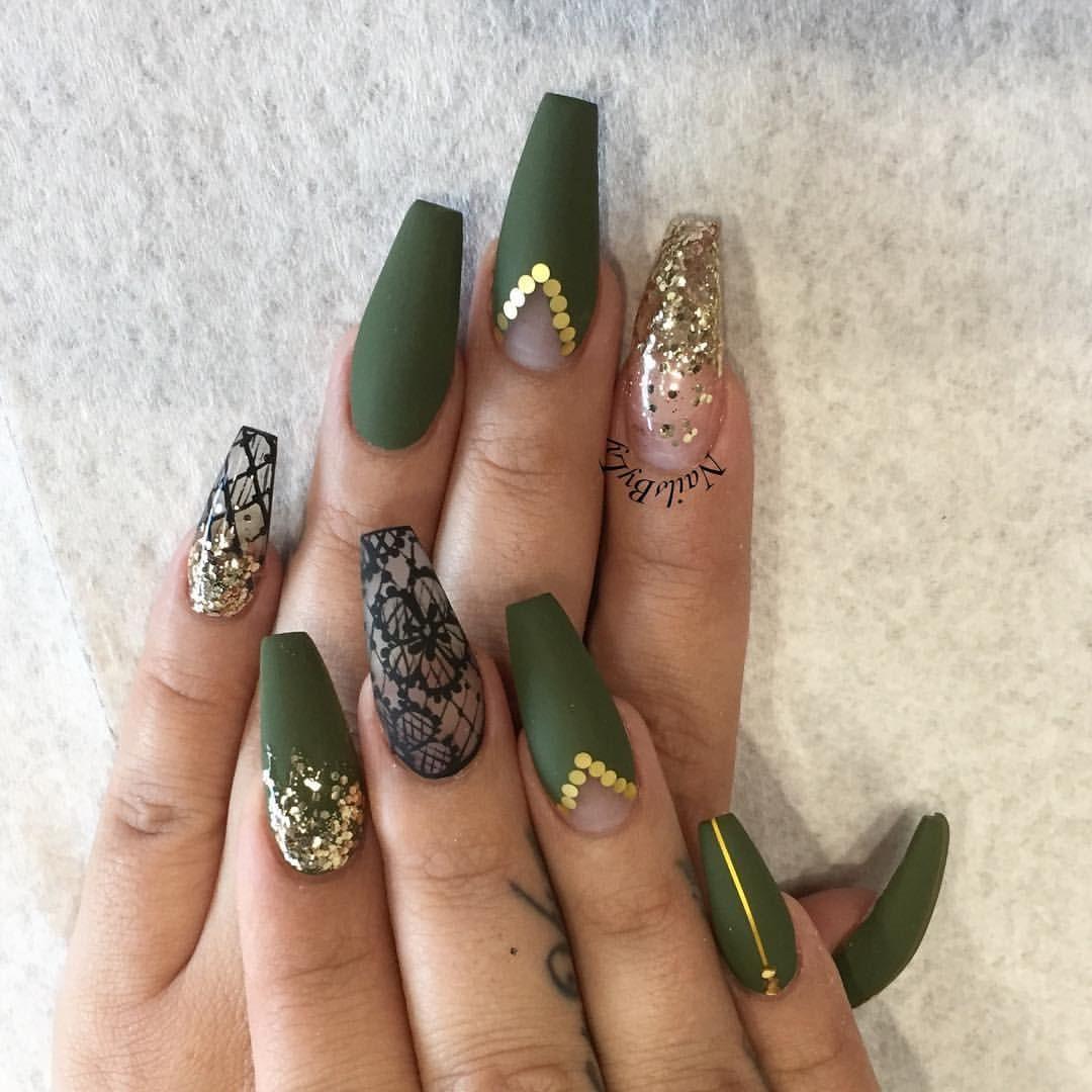 Green Khaki Gold Gems Coffin Nails Https Noahxnw Tumblr Com Post 160992523206 Minimalist Nail Art Ideas Green Nail Designs Gold Nails Green Nails