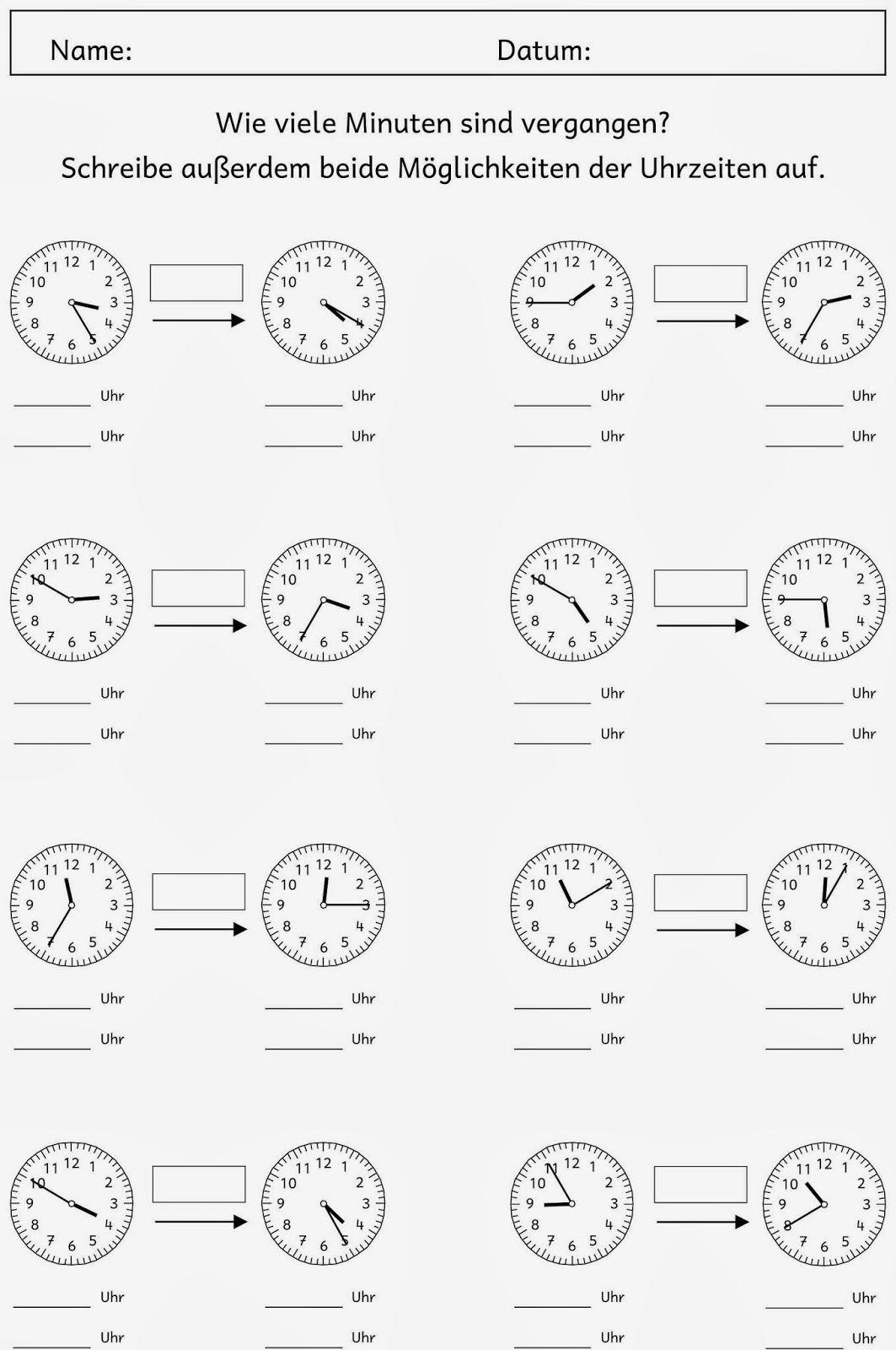 20 Abgelaufene Zeit Arbeitsblatter 3 Klasse