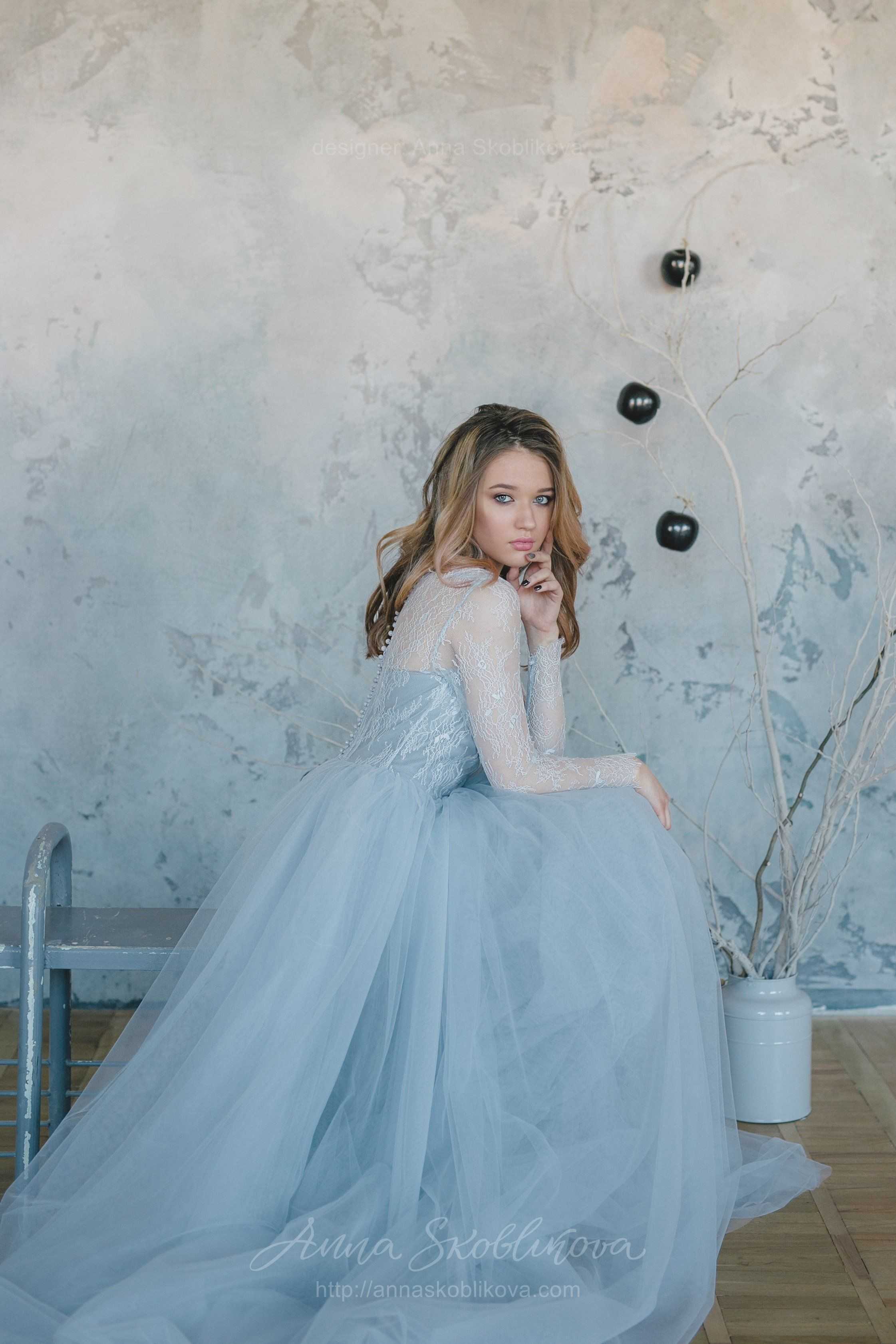 Blue Grey Wedding Dress From Lace And Tulle Pastel Wedding