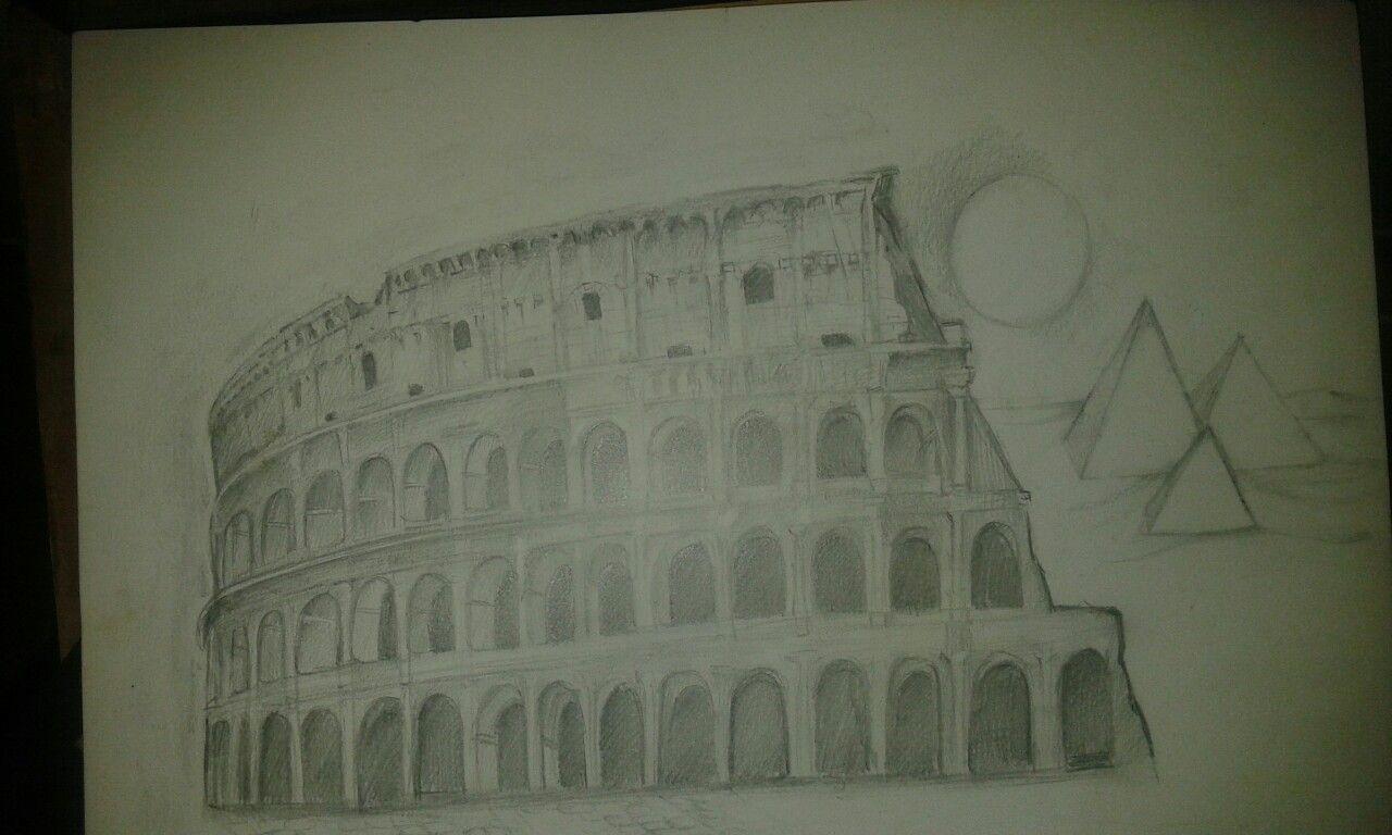 Il Colosseo disegno grafite